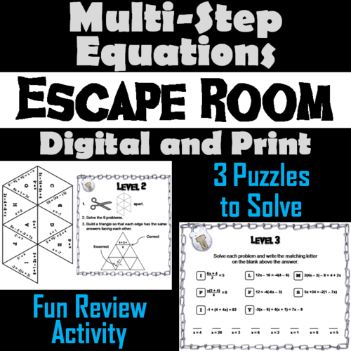 Multi-Step Equations Game: Escape Room Math Activity ...