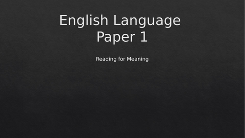 GCSE English Language Paper 1 (Q1, 2, 3 and Q5)