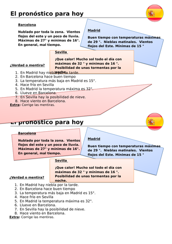 Weather forecast Spanish
