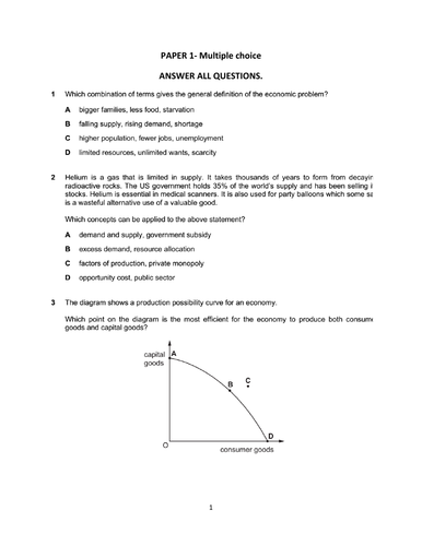 Economics examination questions and answer (paper 1 and paper 2).