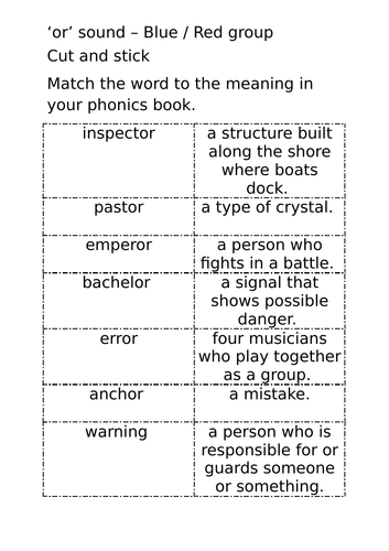 Linguistic Phonics 'or' sound activities