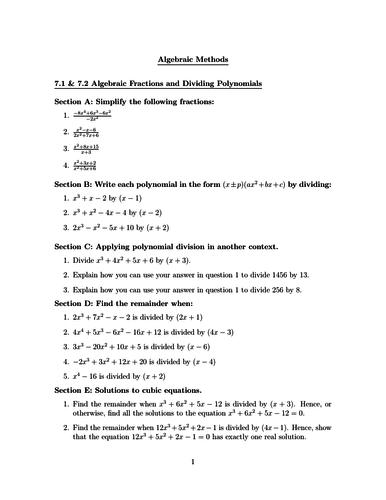 A-level Maths- Algebraic Methods