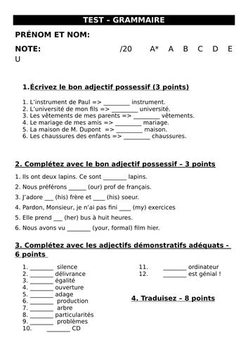 Worksheet / test on possessive and demonstrative adjectives