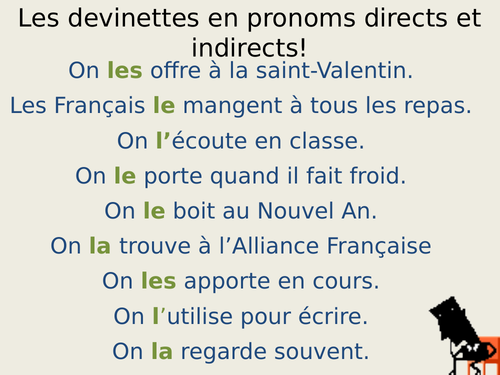 Direct and indirect pronouns devinettes