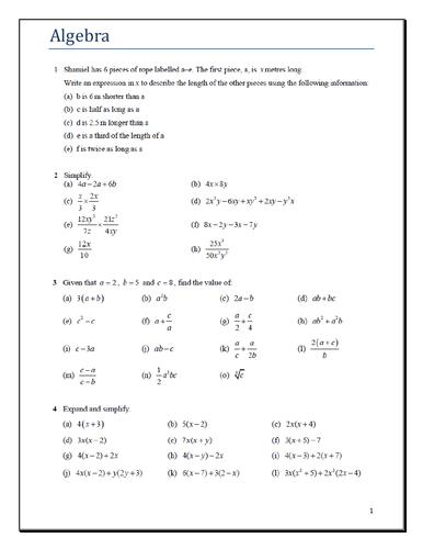 IGCSE - Core Math - Algebra Worksheet with key answer