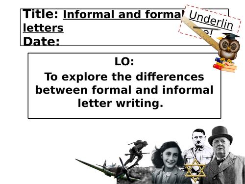 World War formal and informal letter writing lesson KS3