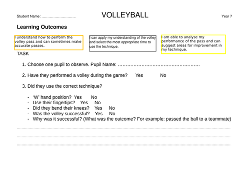 Volleyball Task Card