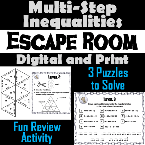 Solving Multi Step Inequalities Game Escape Room Math Activity By