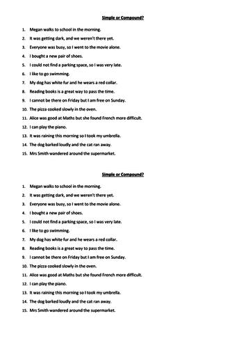 Simple or Compound sentences worksheet
