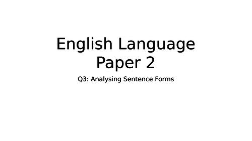 English Language Paper 2 Sentence Structures Lesson
