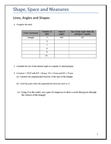 IGCSE - Core Math - Shape,Space & Measures - Lines & Angles worksheet with key answer