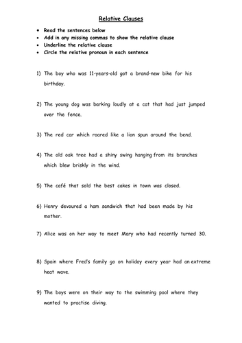 Identify the Relative Clause Worksheet