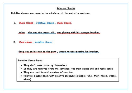 Relative Clause Information Poster and Worksheet