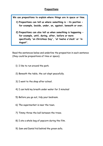 Identifying Prepositions