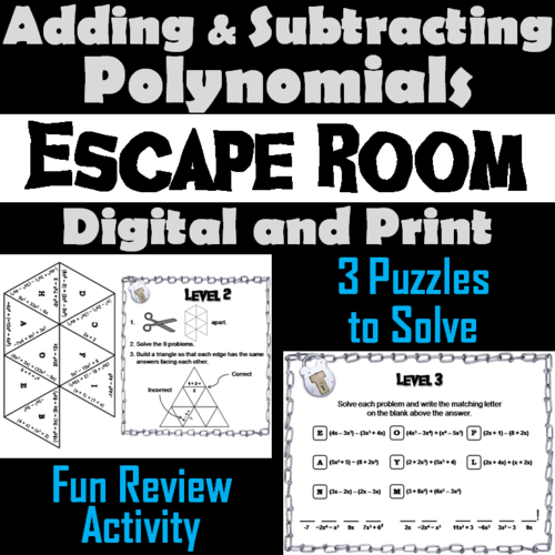 Adding and Subtracting Polynomials Activity: Math Escape Room