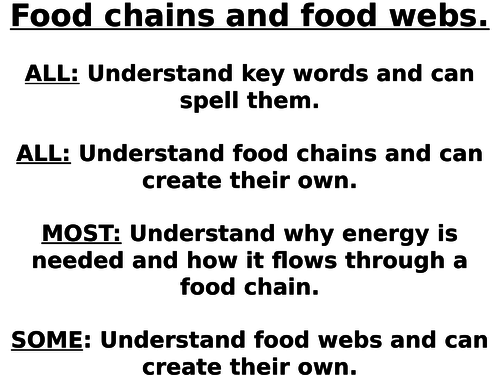 Food chains and food webs.  Feeding relationships.  Ecology.