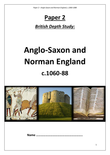 Edexcel GCSE 9-1 History: Anglo Saxons and Normans revision workbook (old version)