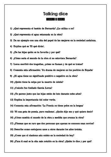 La Casa de Bernarda Alba (20-sided dice speaking task)