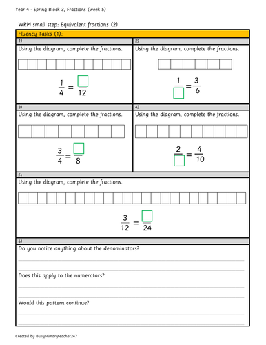 Year 4 – Spring Block 3 – Fractions - week 5 -  Equivalent fractions (2)