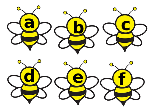 numbers,letters and days of the week on bees