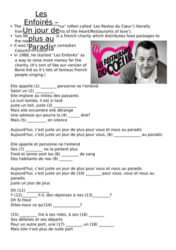 KS4 French charity work - song listening gap-fill