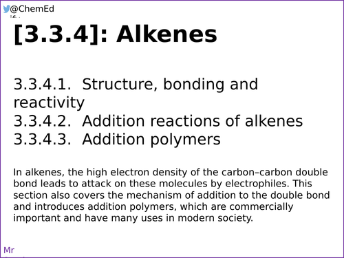 AQA A-Level Chemistry [3.3.4] Alkenes [New Specification (2016-)]