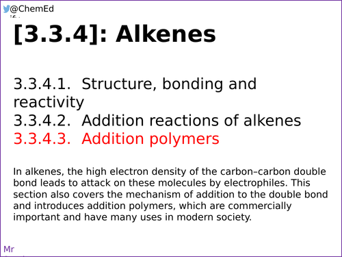 AQA A-Level Chemistry [3.3.4.3] Addition polymers [New Specification (2016-)]