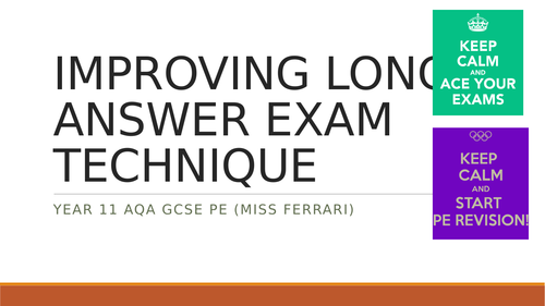 AQA GCSE PE IMPROVING LONG ANSWER EXAM TECHNIQUE & STRUCTURE