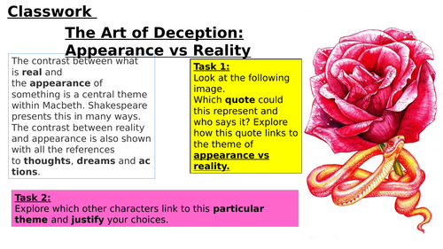 appearance vs reality in macbeth Appearance vs reality in shakespeares work english literature essay this plays around with the concerning appearance vs reality as she wants macbeth to.