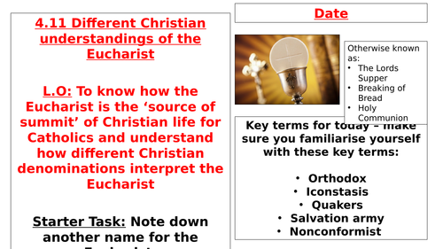 AQA B GCSE - 4.11 - Different Christian understandings of the Eucharist