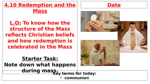 AQA B GCSE - 4.10 - Redemption and the Mass