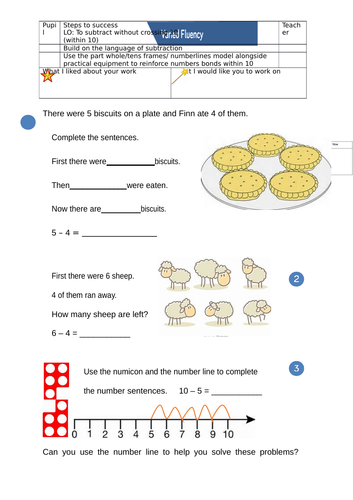 Year One - Subtraction not crossing 10 differentiated activity