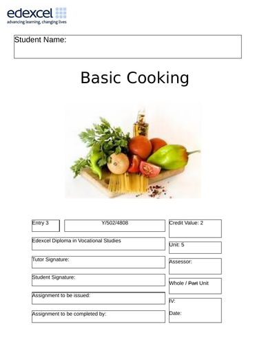 Basic Cooking Unit of Work for Edexcel Entry 3