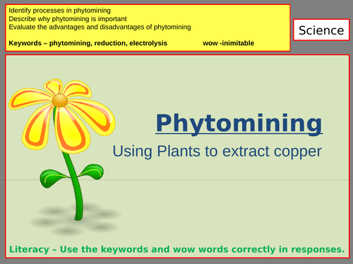 AQA Chemistry PHYTOMINING powerpoint and resources