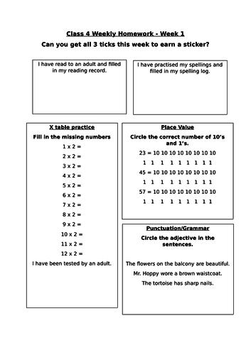Homework sheet for year 2