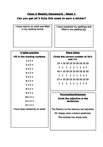 Homework sheets for year 2 literacy and numeracy by pfrance ...