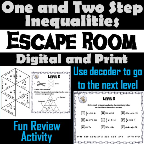 Solving Absolute Value Inequalities Activity: Escape Room