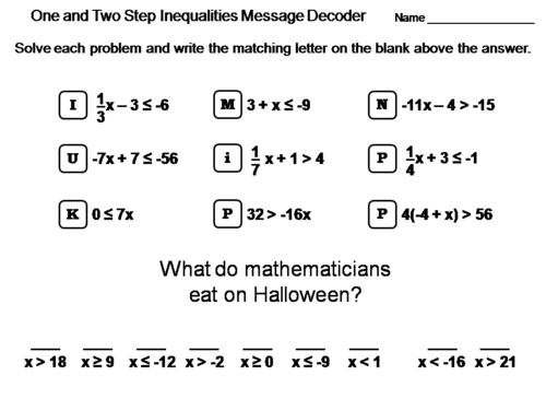 Solving One And Two Step Inequalities Worksheet Math Message