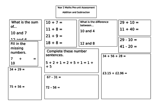 Addition and Subtraction pre-unit assessment year 2