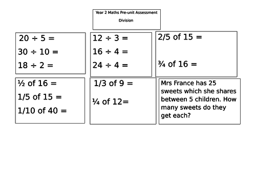 Year 2 pre-unit assessment for division