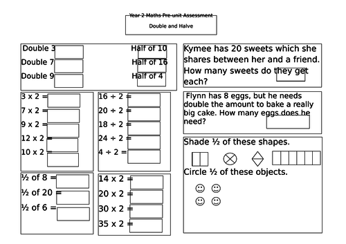 Year 2 pre-unit assessment for doubling and halving