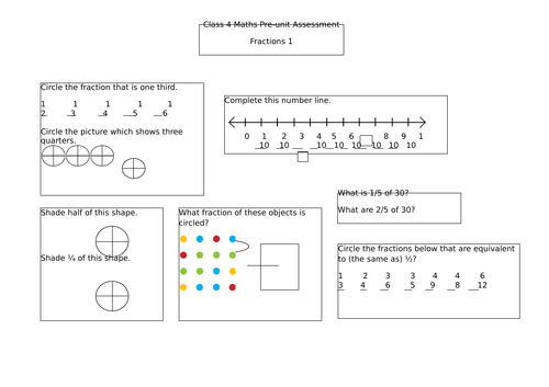 Year 2 pre-unit assessment for fractions