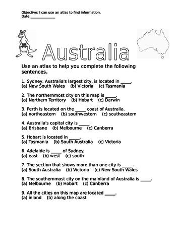 Map Of Australia Worksheet.Australia Atlas Worksheet And Answers