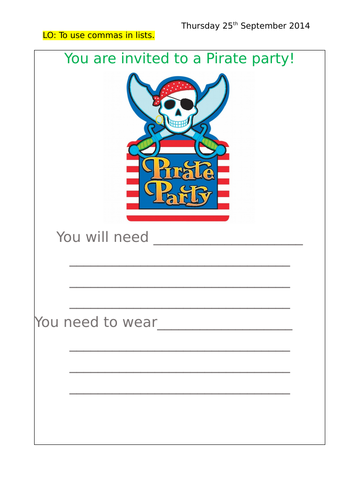Pirate party invitation - Using commas in lists