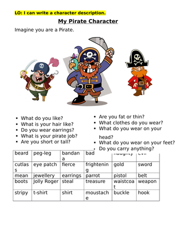 Character description worksheet (Pirate themed)