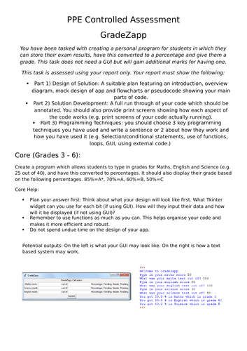 GCSE Computer Science Programming Project / Assessment - Grade Calculator App
