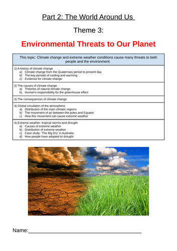 Environmental Threats to Our Planet workbook
