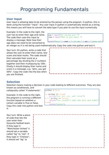 GCSE Computer Science - Programming Fundamentals Worksheet and Quiz