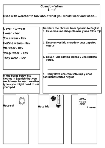 weather and clothing in spanish by hjbrigden teaching resources. Black Bedroom Furniture Sets. Home Design Ideas