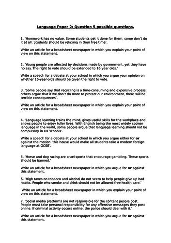 AQA GCSE English Language Paper 2 Q5 Tasks/ Writing to Argue and Persuade